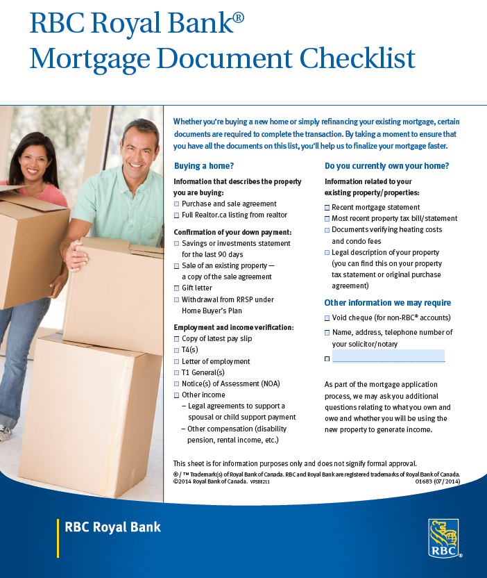 mortgage check list from banks