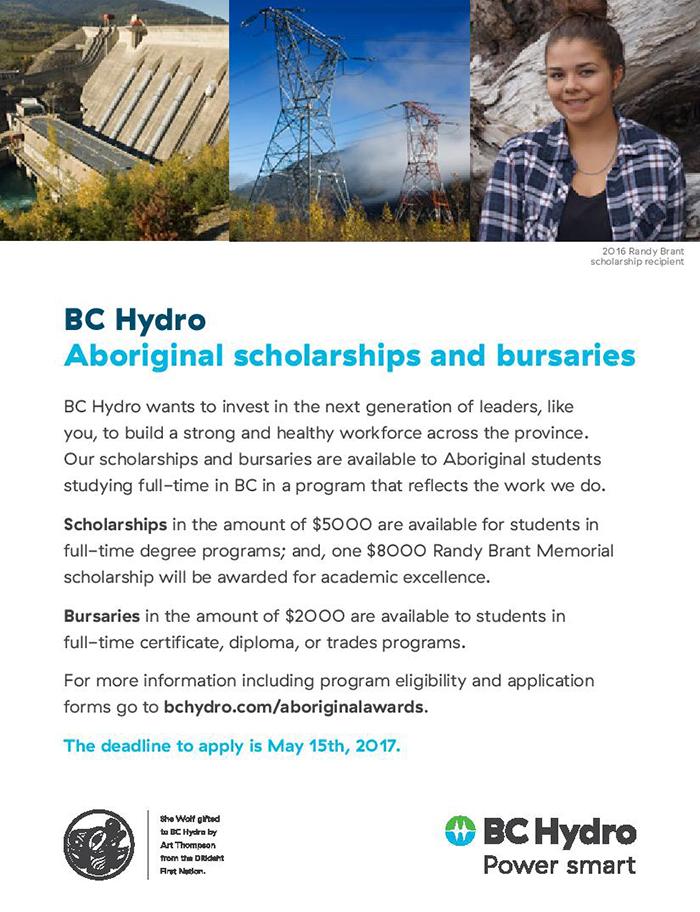 BC Hydro Aboriginal Scholarship and Bursary Program is now