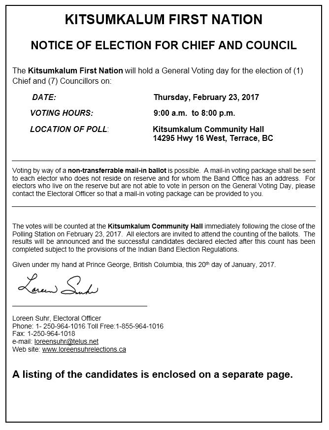 Information regarding Kitsumkalum 2017 Election