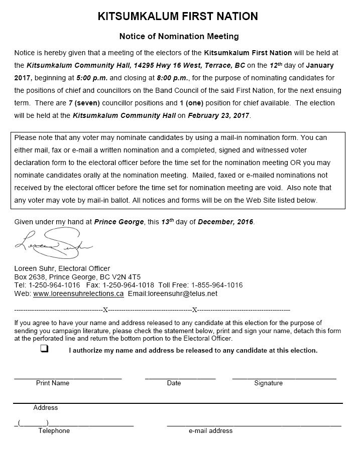 Important Information regarding the Kitsumkalum Nomination Meeting & 2017 Election
