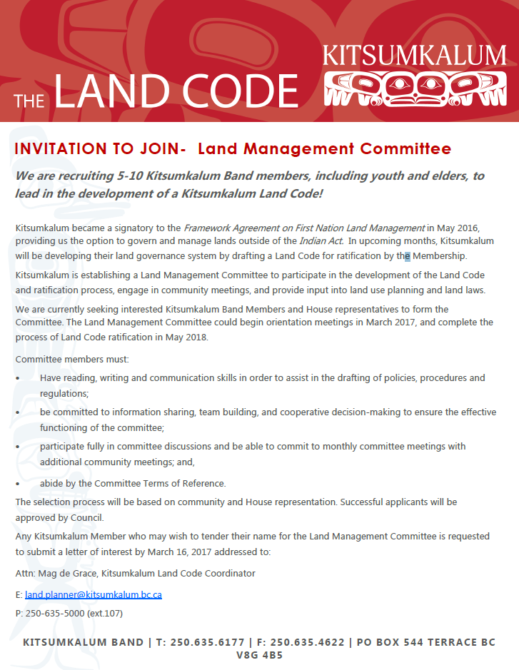Invitation to Join – Land Management Committee