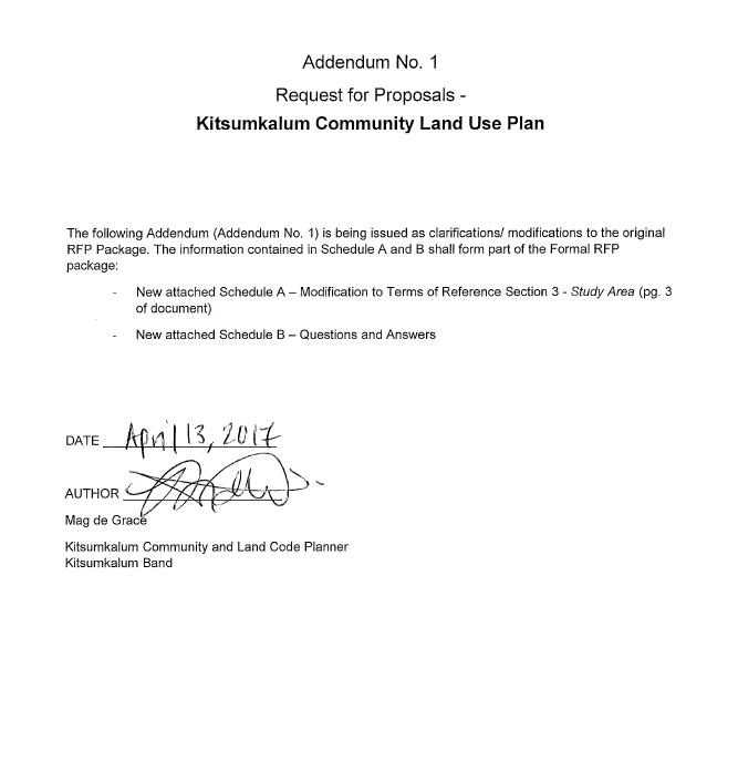 Addendum No. 1 – Request for Proposals – Kitsumkalum Community Land Use Plan