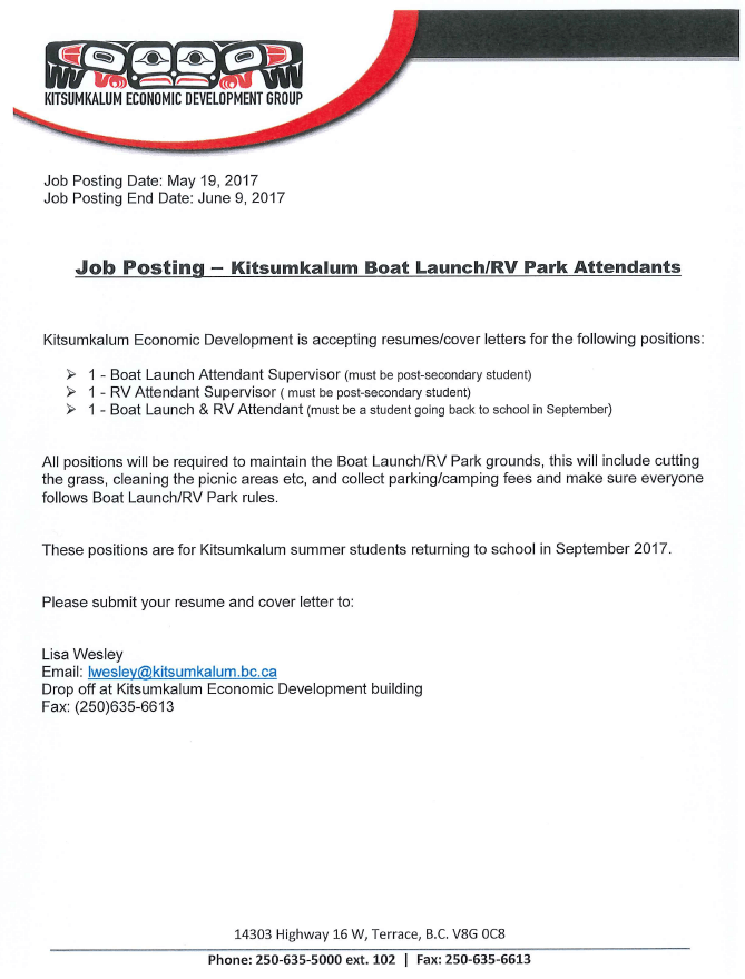 Job Posting: Kitsumkalum Boat Launch/ RV Park Attendants