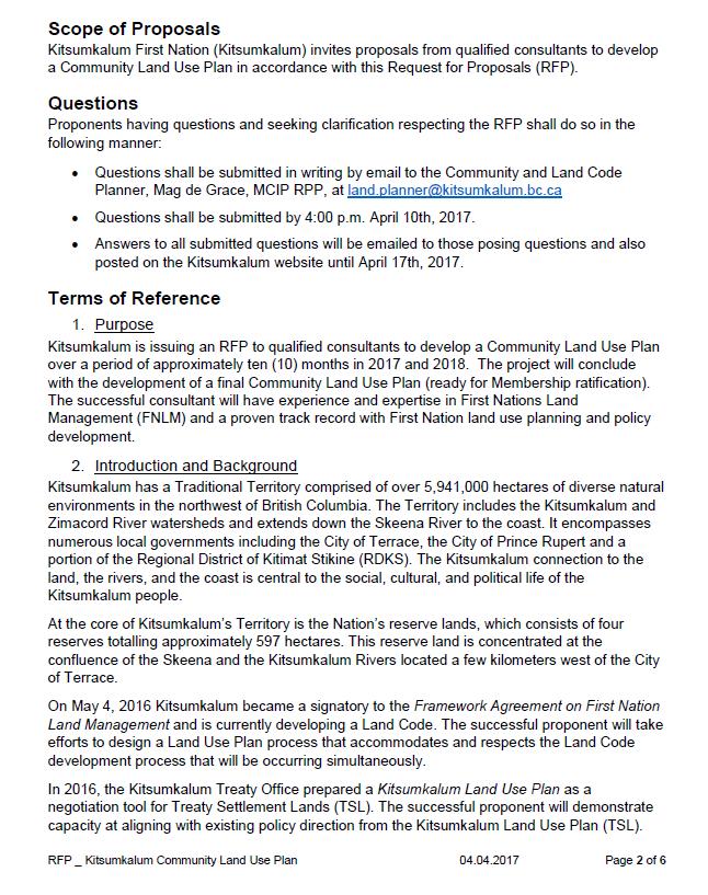 Request for Proposals Kitsumkalum Community Land Use Plan