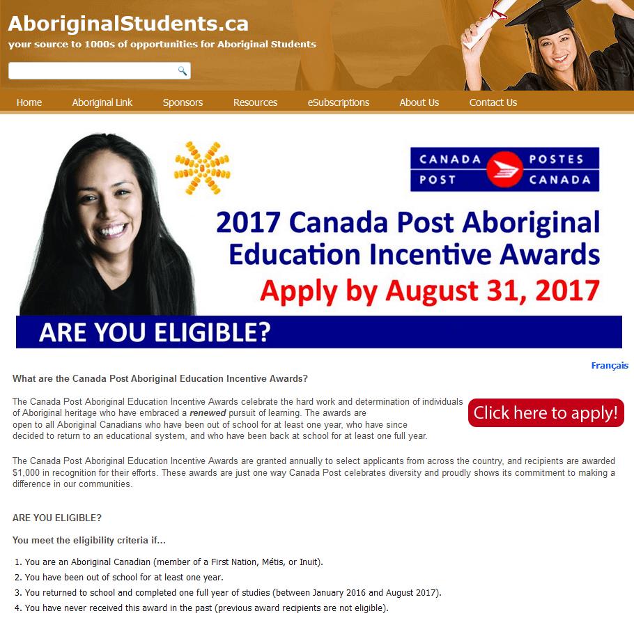 2017 Canada Post Aboriginal Educations Incentive Awards