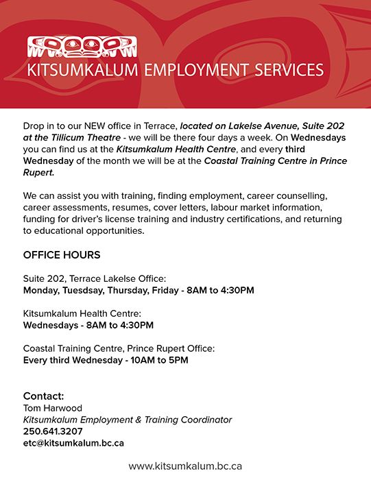 New office of the Kitsumkalum Employment Services located at