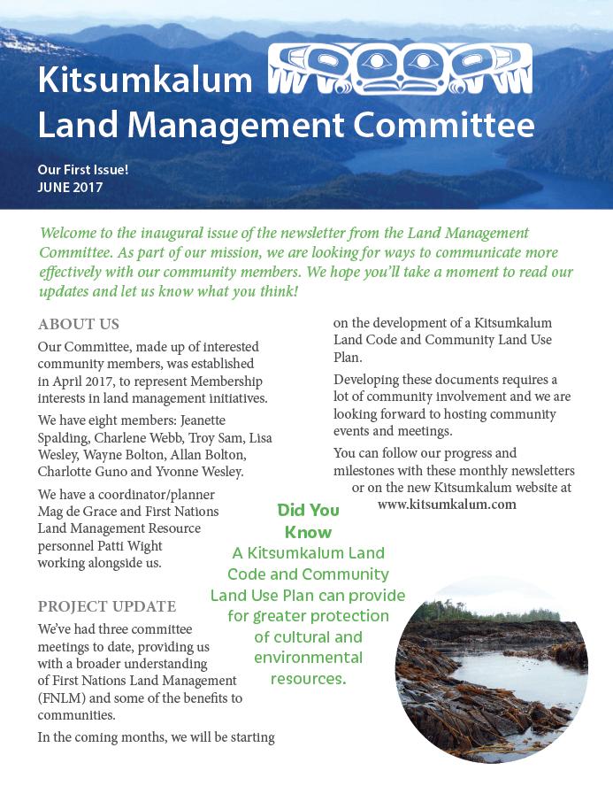 Kitsumkalum Land Management Committee's 1st Newsletter