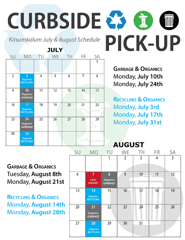 Kitsumkalum July August Schedule garbage pick up