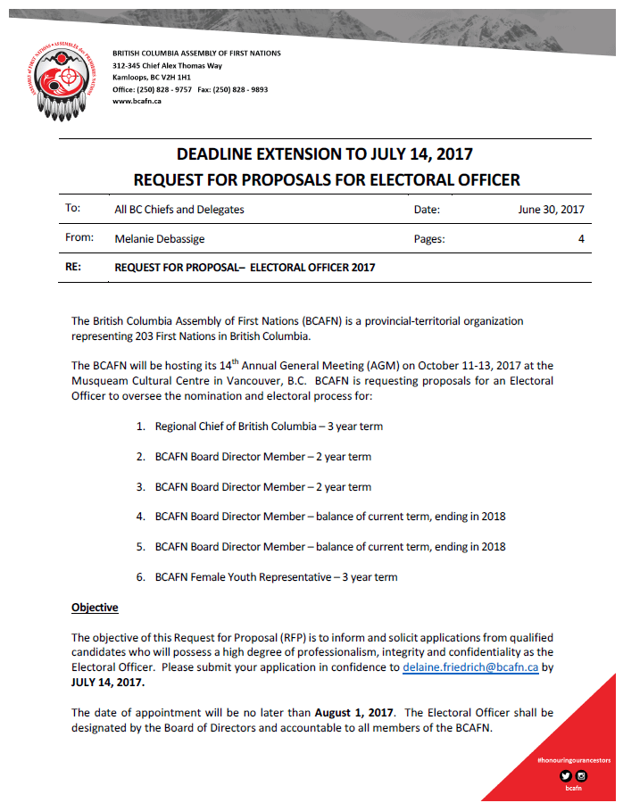 Deadline Extension for RFP's for Electoral Officer – Submit by July 14, 2017
