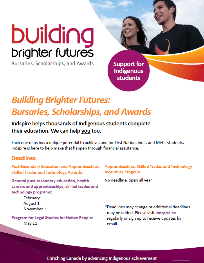 Apply to Indspire Bursaries, Scholarships and Awards Student Outreach