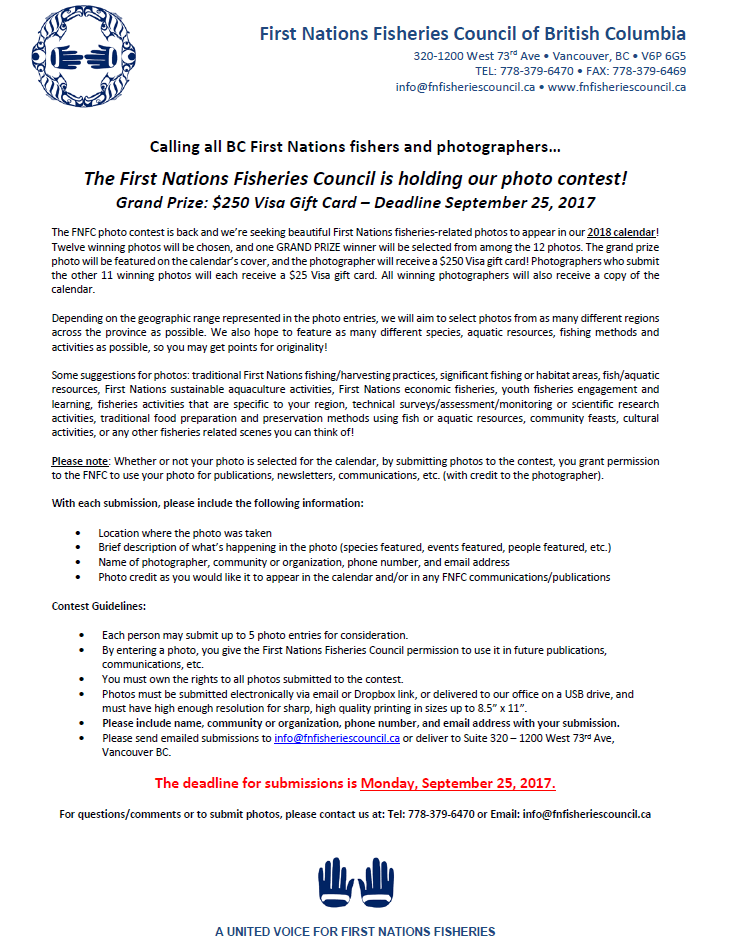 The First Nations Fisheries Council is holding a photo contest!