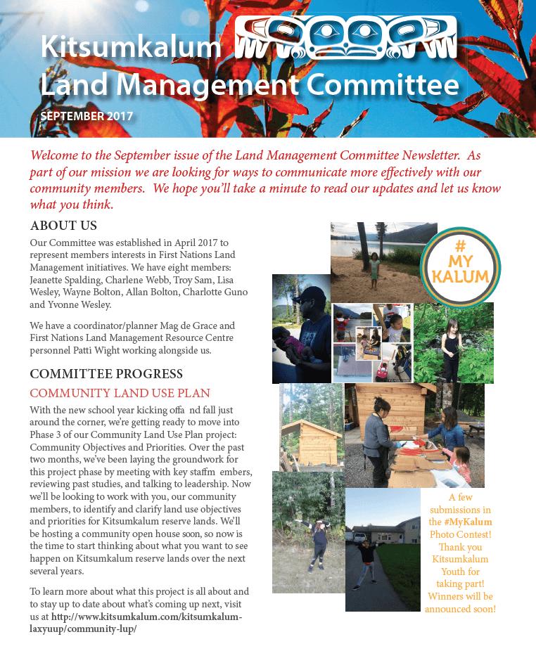 Kitsumkalum Land Management Committee September 2017 Newsletter
