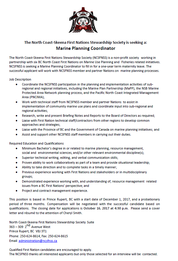 NCSFNSS job post sept.2017
