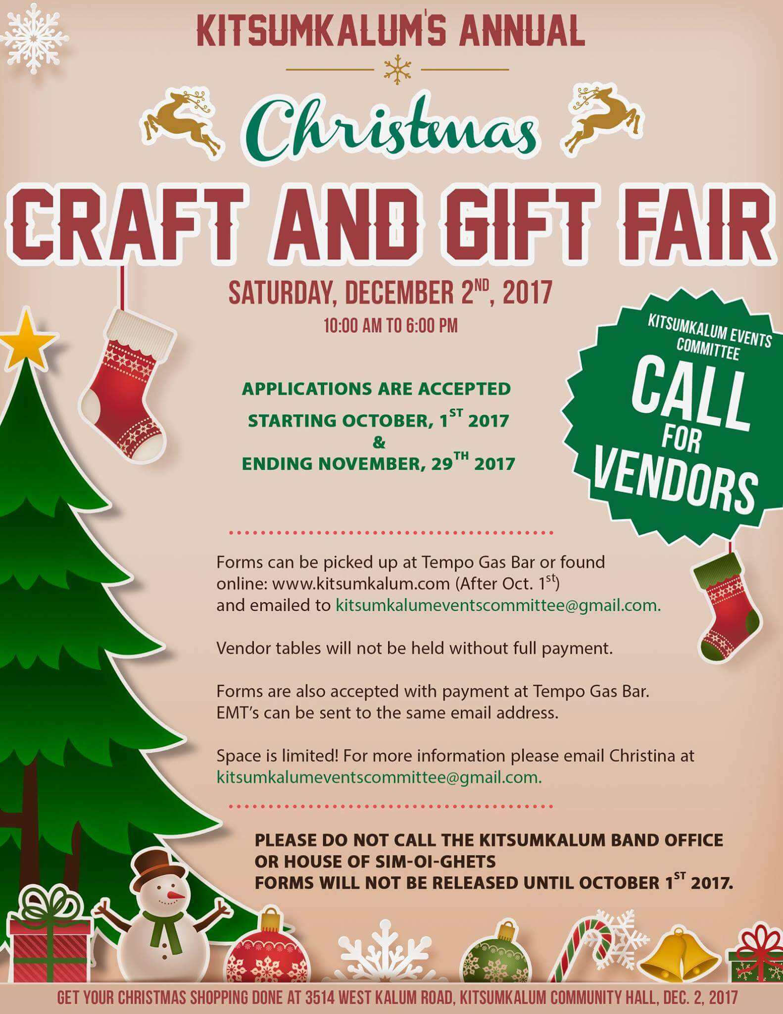 Christmas Craft and Gift Fair – Call for Vendors