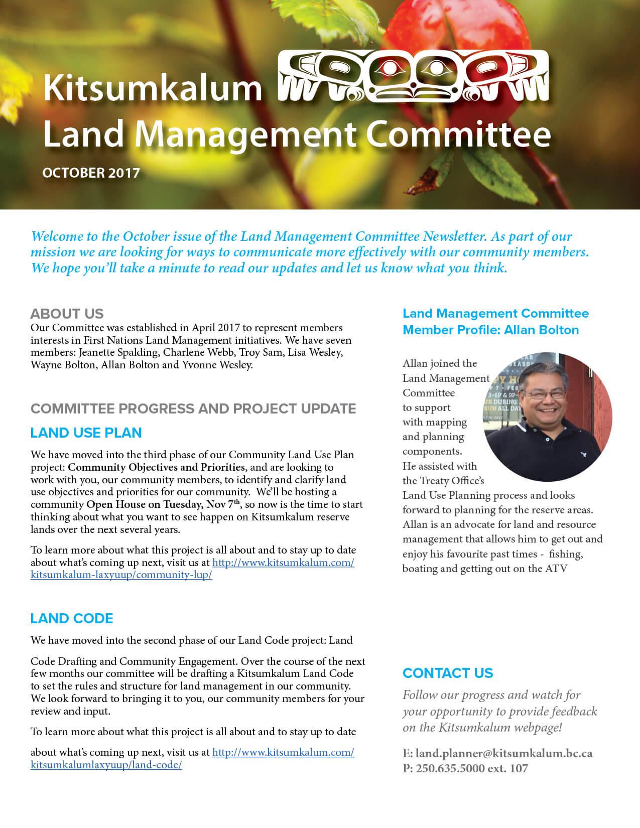 Kitsumkalum Land Management Committee Newsletter – October 2017