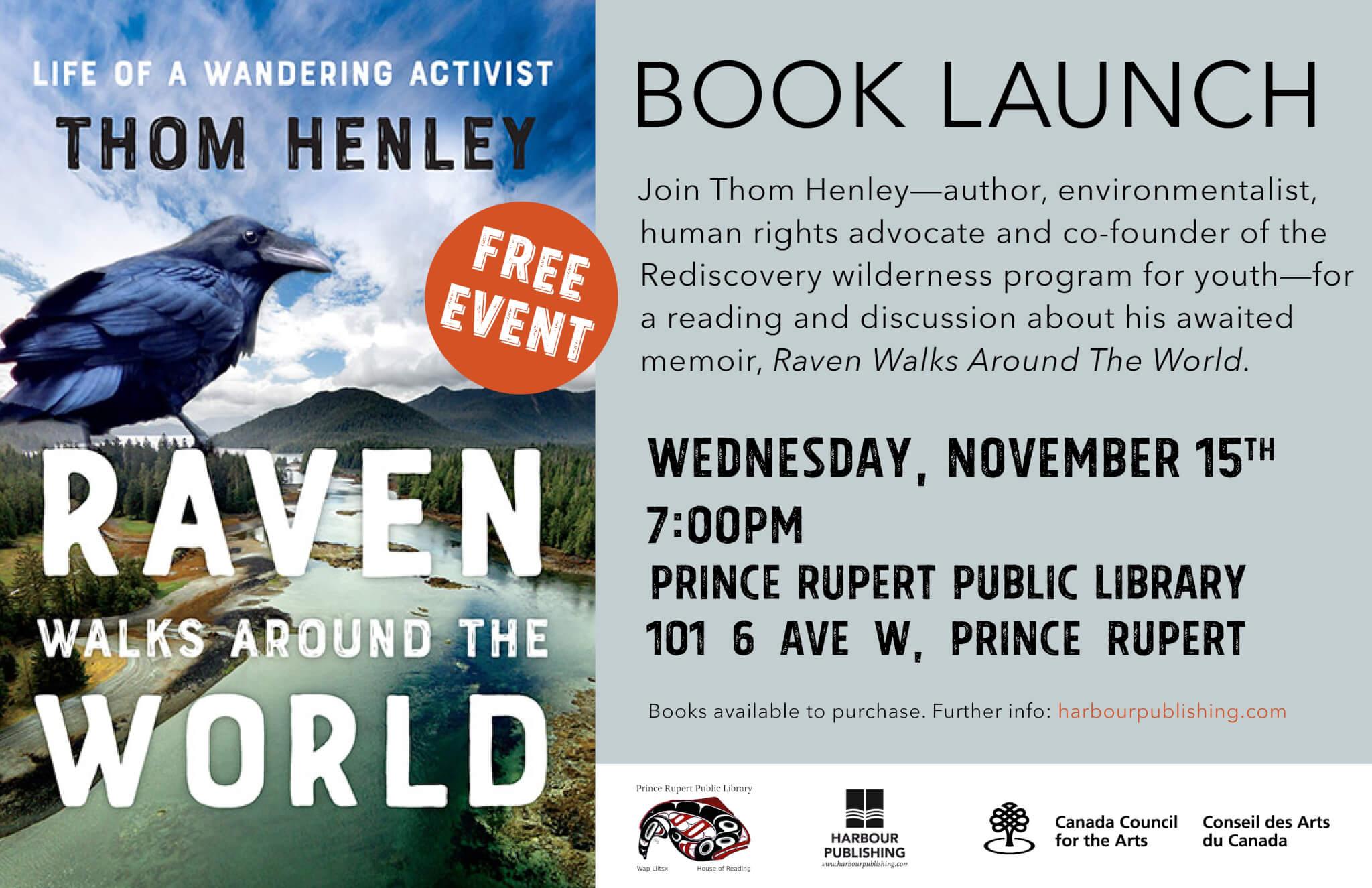 Book event – Prince Rupert Library – November 15 – 7:00 p.m