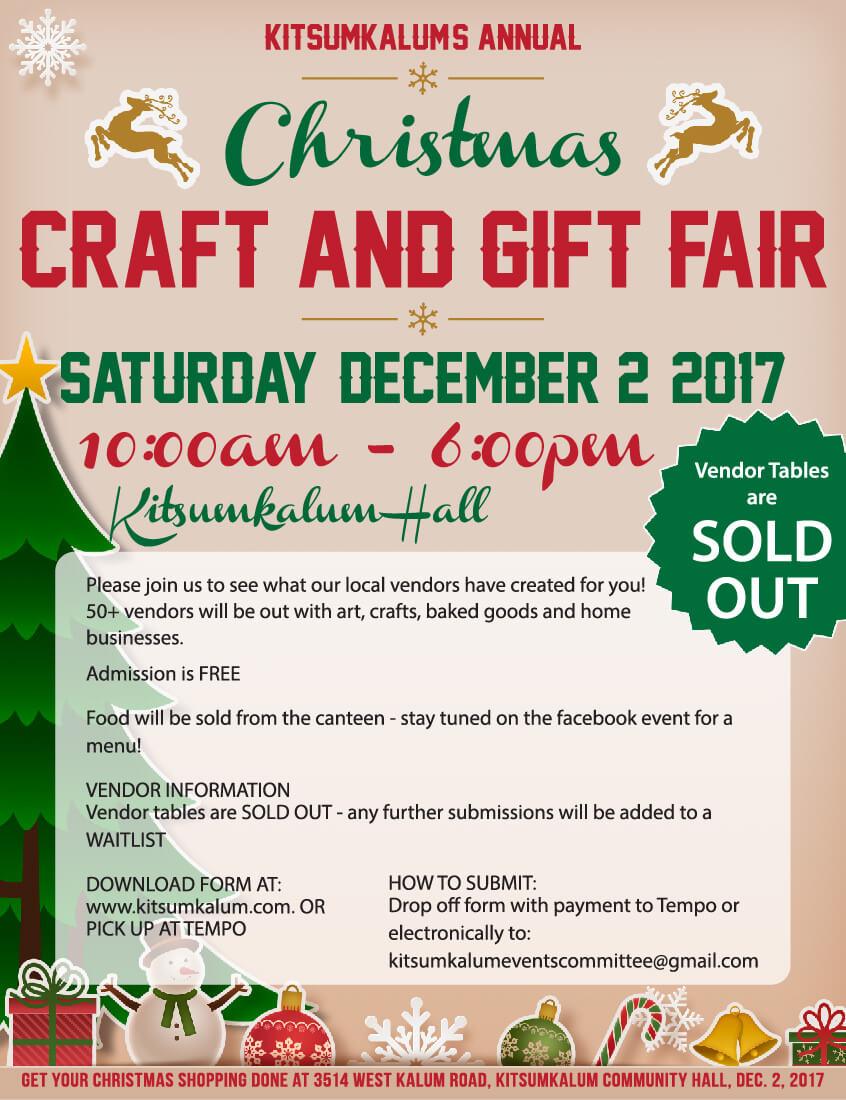 Christmas Craft and Gift Fair Dec. 2, 2017 | Kitsumkalum, a Galts\'ap ...