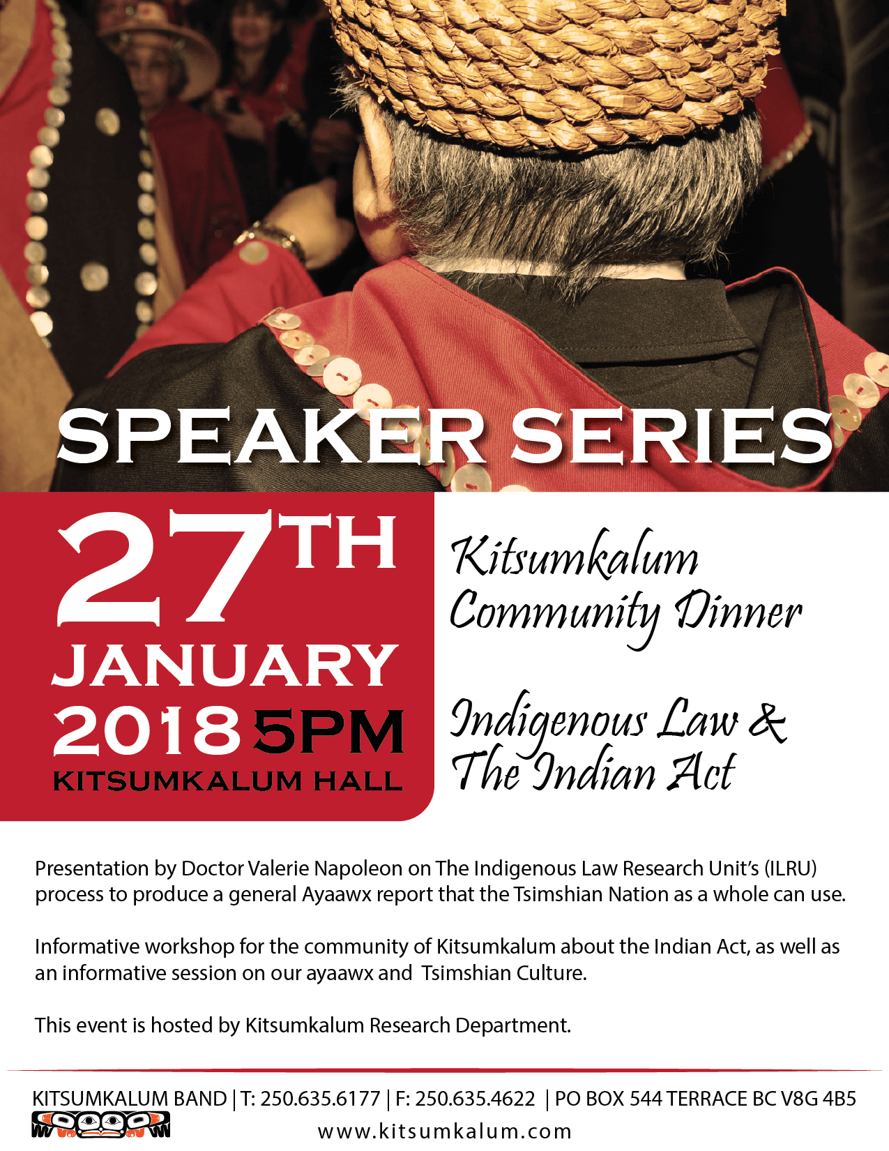 Speaker Series JAN 27th Indigenous Law and The Indian Act