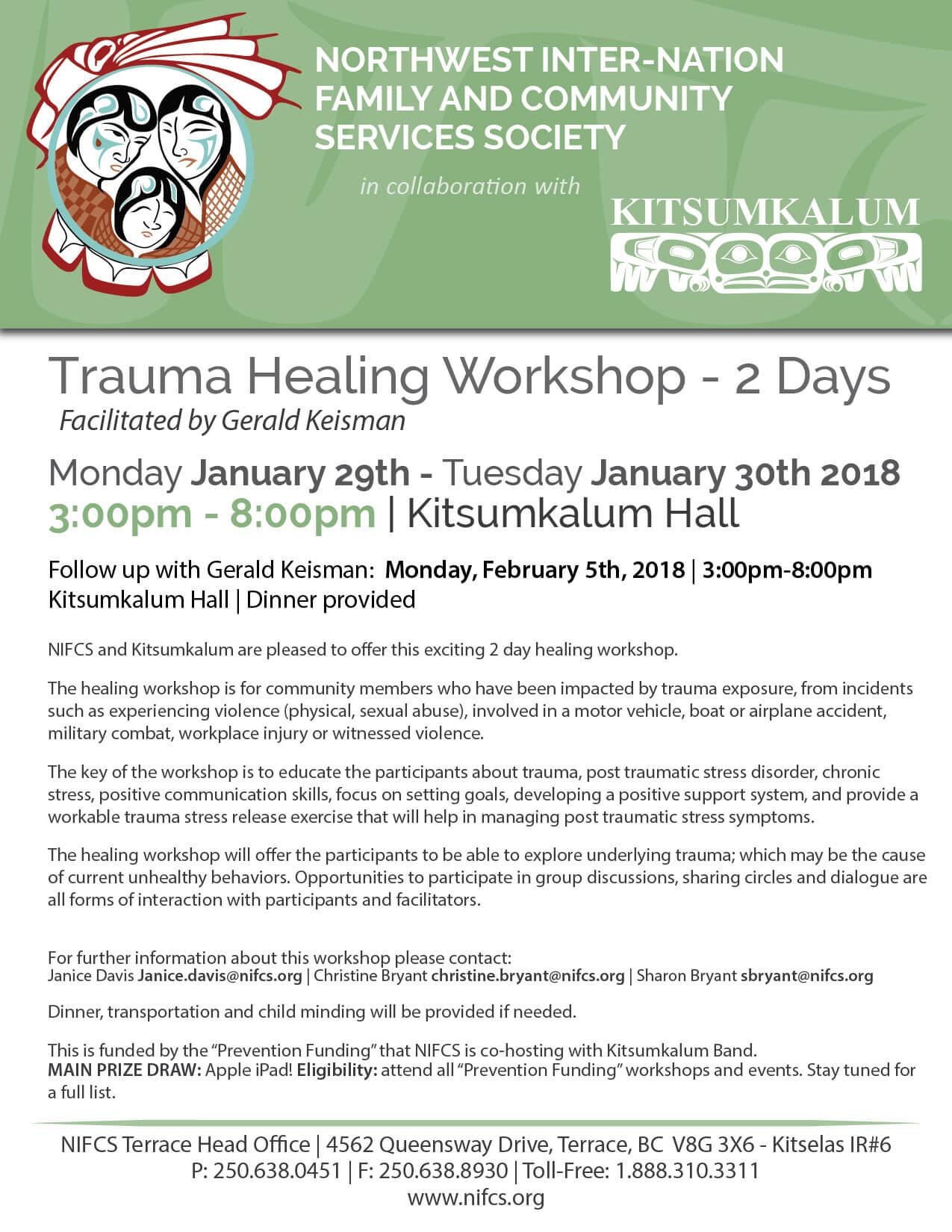 Trauma Healing Workshop Jan 29th and 30th
