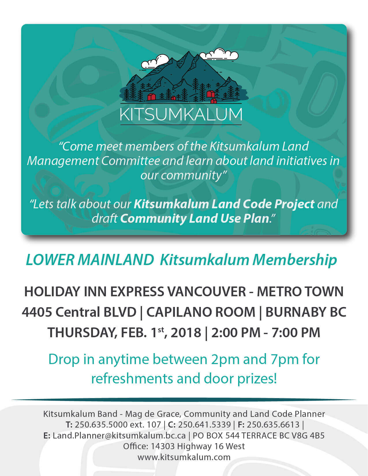 Lower Mainland Kalum Membership – Learn About Land Initiatives in Our Community