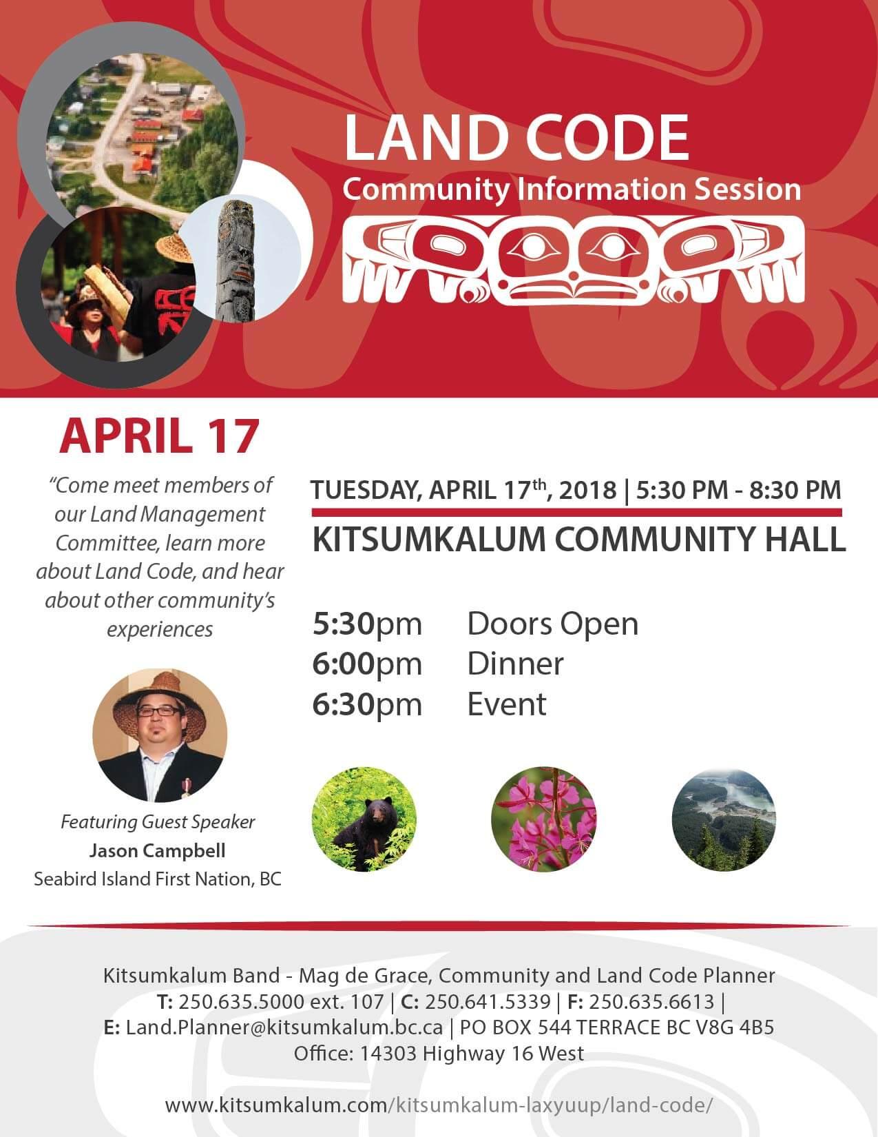 Kitsumkalum Land Code Info Session APRIL 17