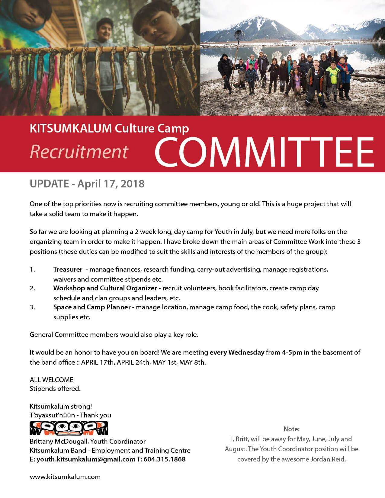 Culture Camp Committee Update