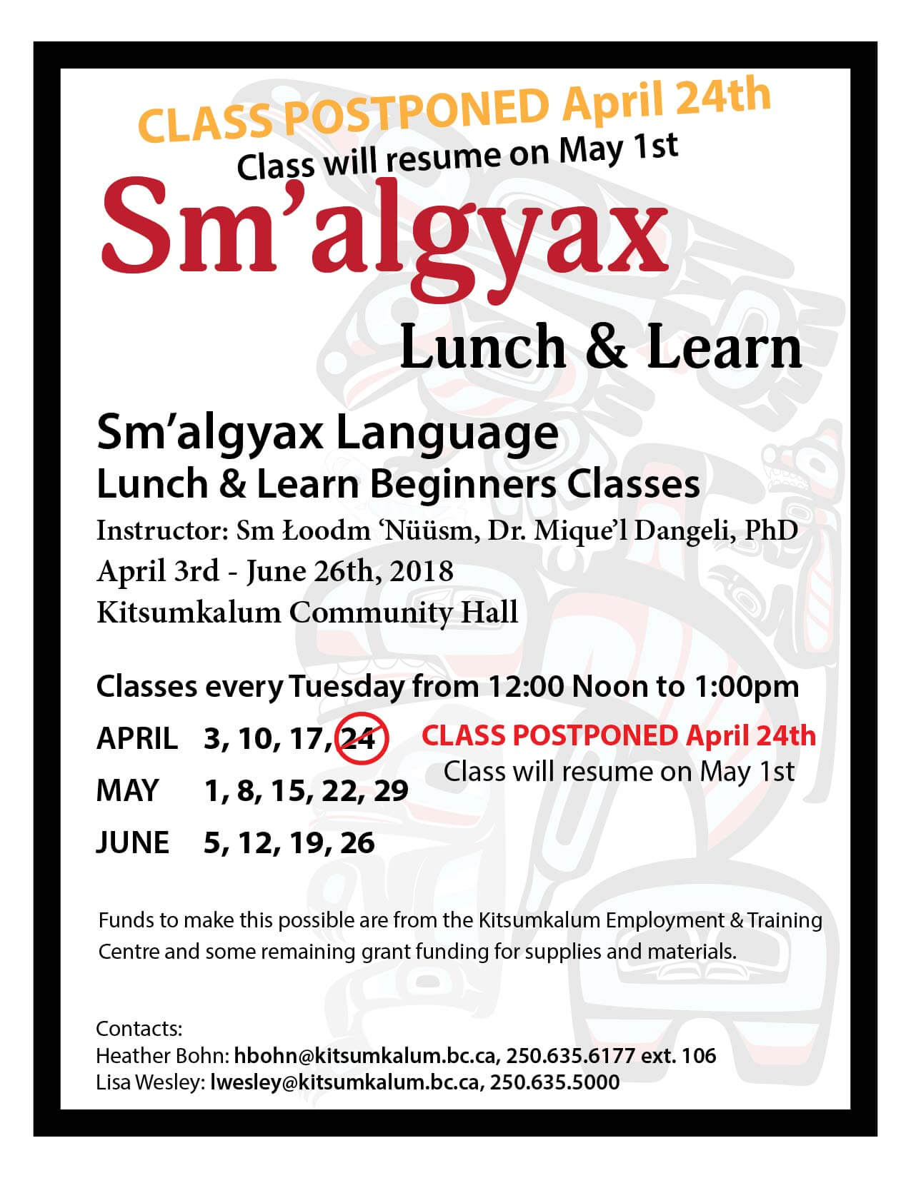 Postponed – Sm'algyax Language Lunch – April 24th