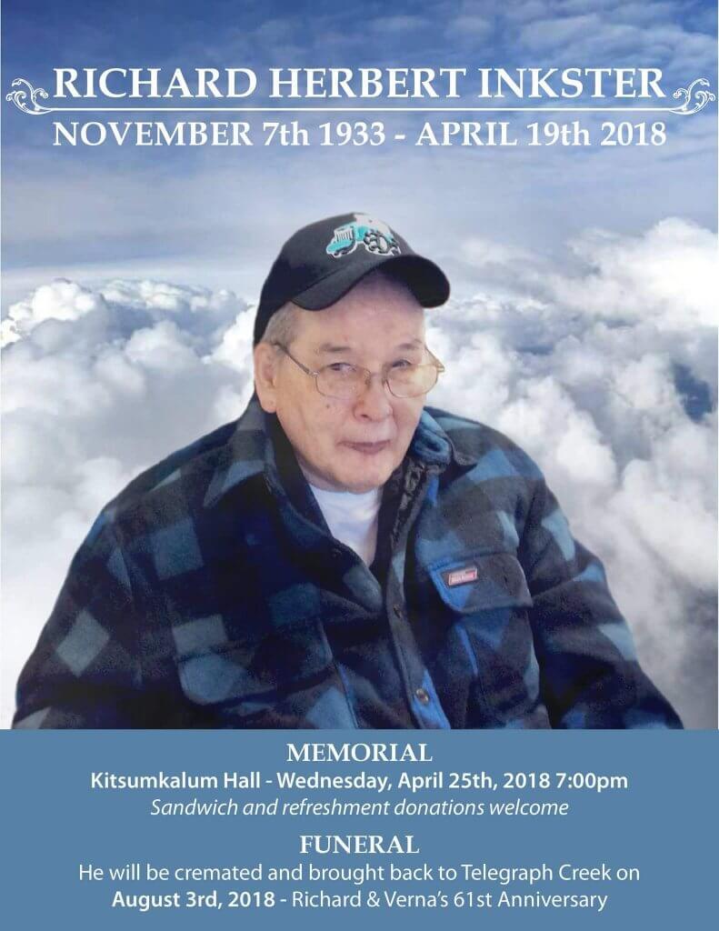 Memorial for Richard Herbert Inkster