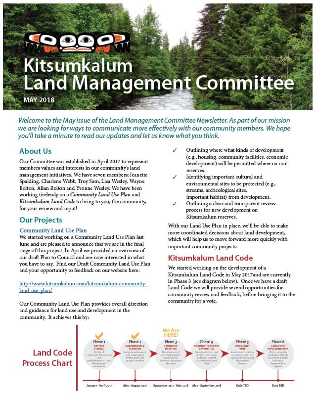 MAY 2018 Land Committee Newsletter