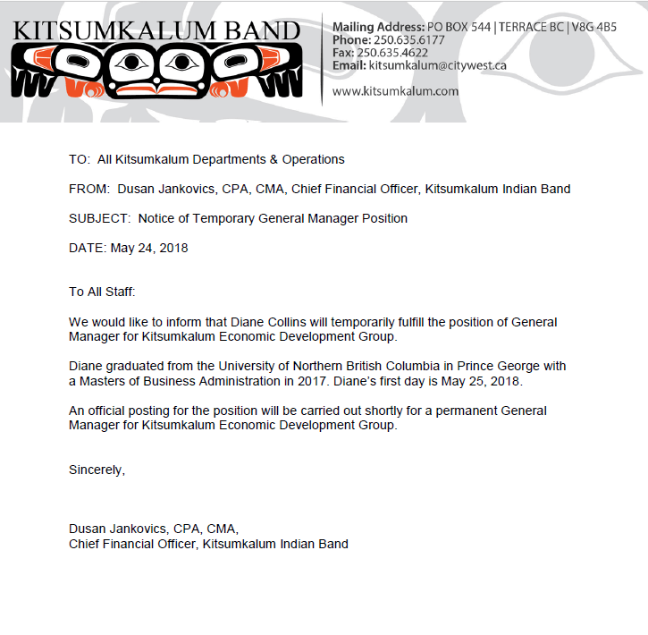 Notice of Temporary General Manager Position