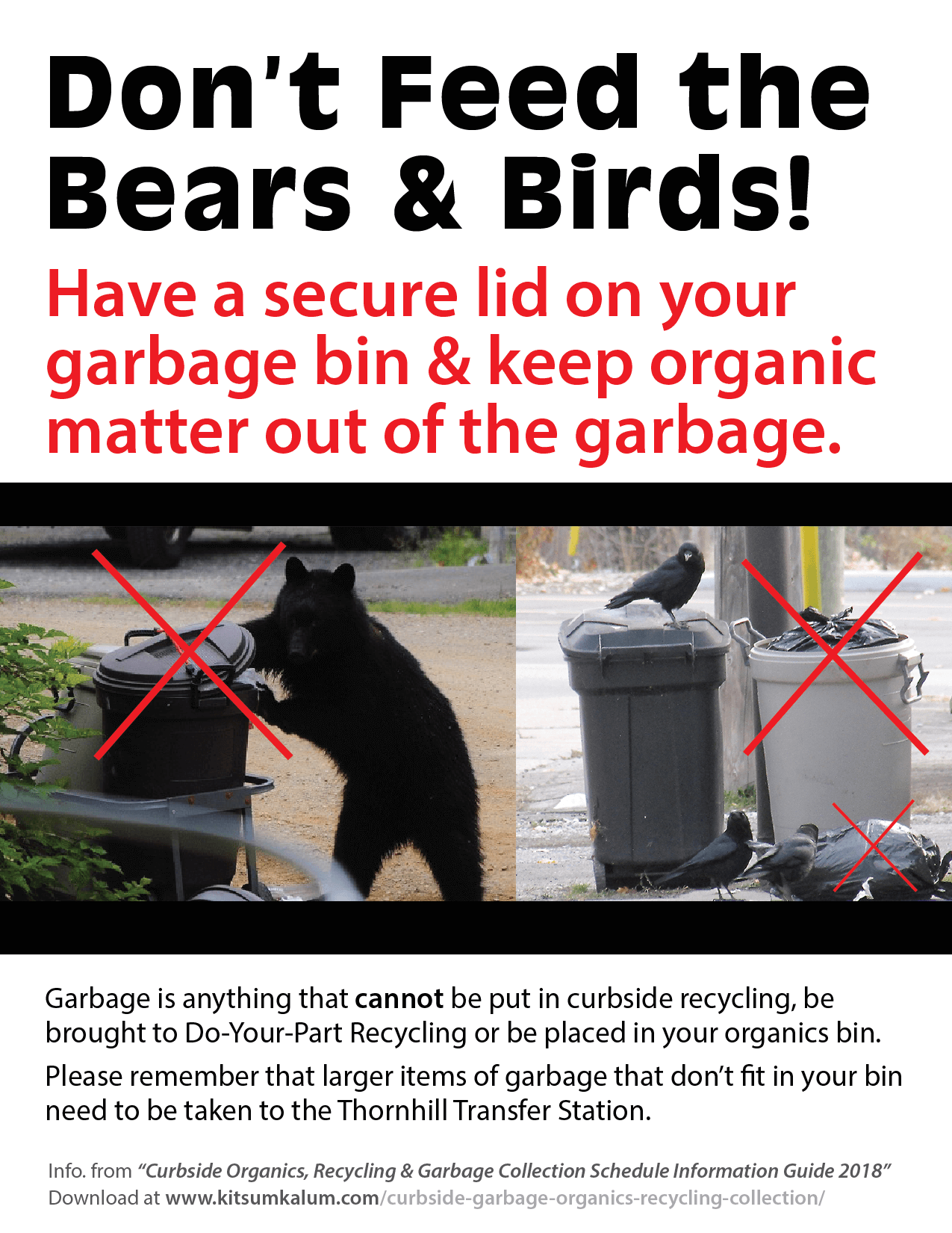 Waste Management : Don't Feed the Bears and Birds