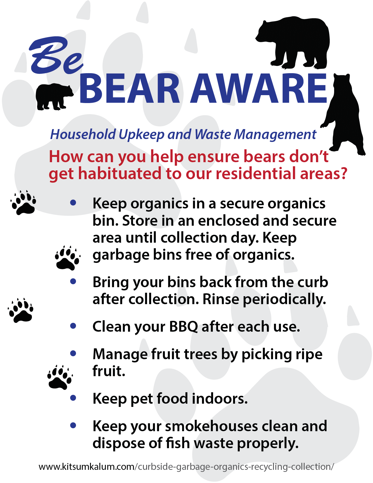 Be Bear Aware : Household Upkeep and Waste Management