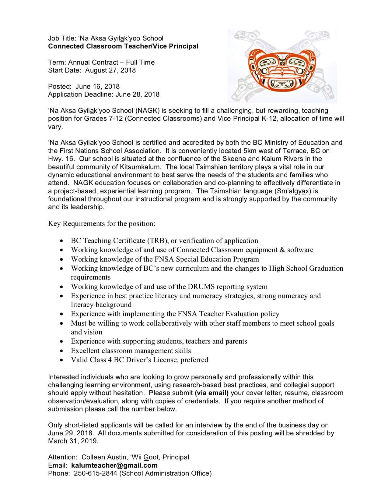 Job Post: Connected Classroom Teacher/Vice Principal