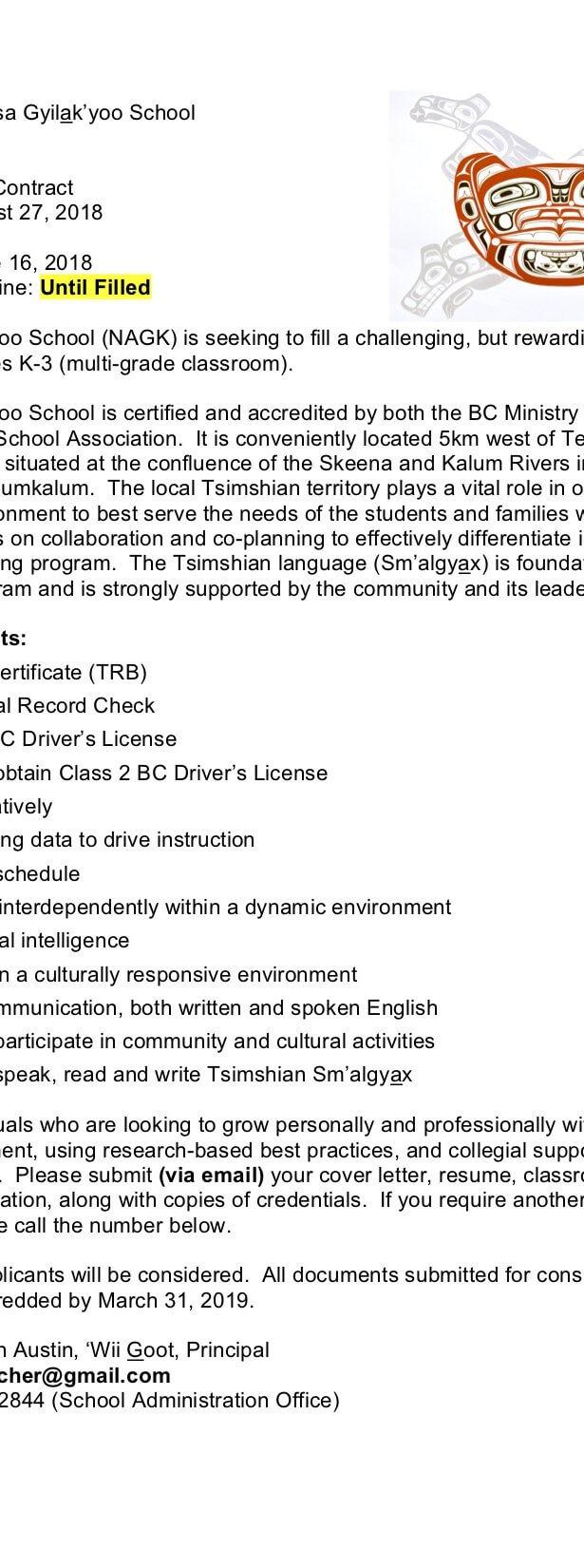 Employment Training Services Kitsumkalum A Tsimshian Community