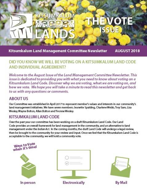 Land Management Committee Newsletter – August 2018