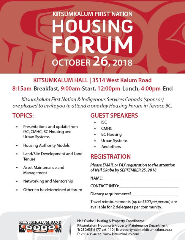 Housing Forum – Kitsumkalum First Nation Oct 2018