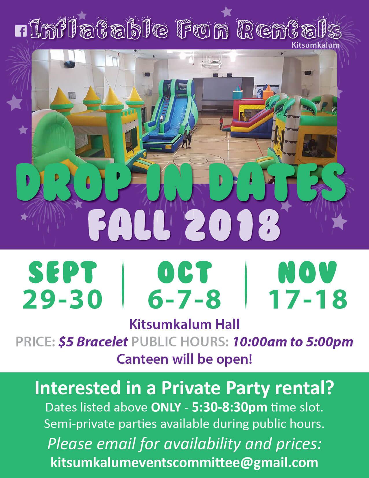Inflatable Fun Drop-In Dates – November 2018