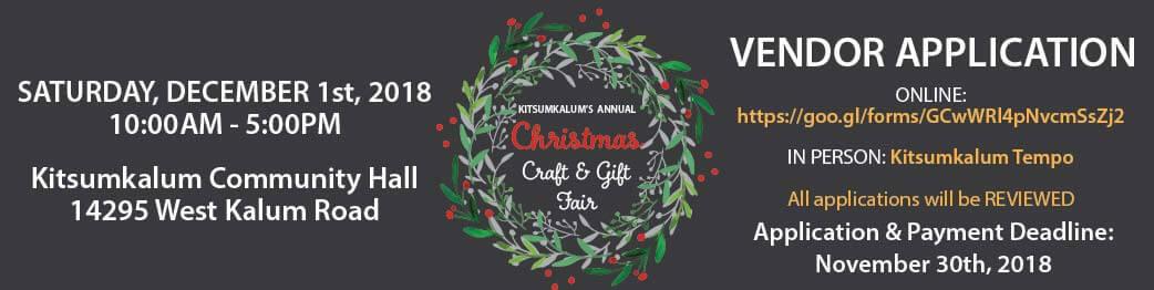 Kitsumkalum Craft and Gift Fair – Online Vendor Application
