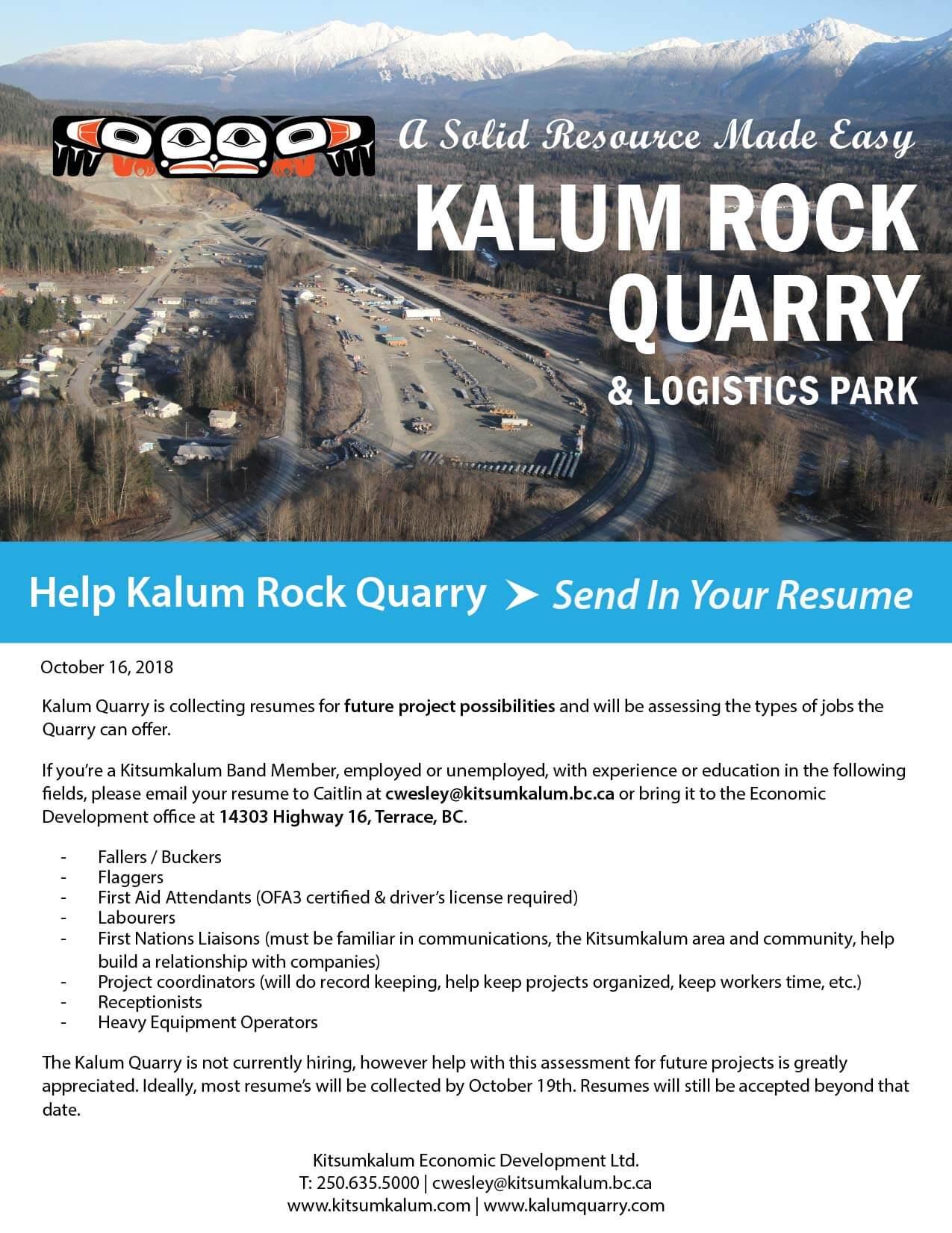 Send in Your Resume – Kalum Rock Quarry
