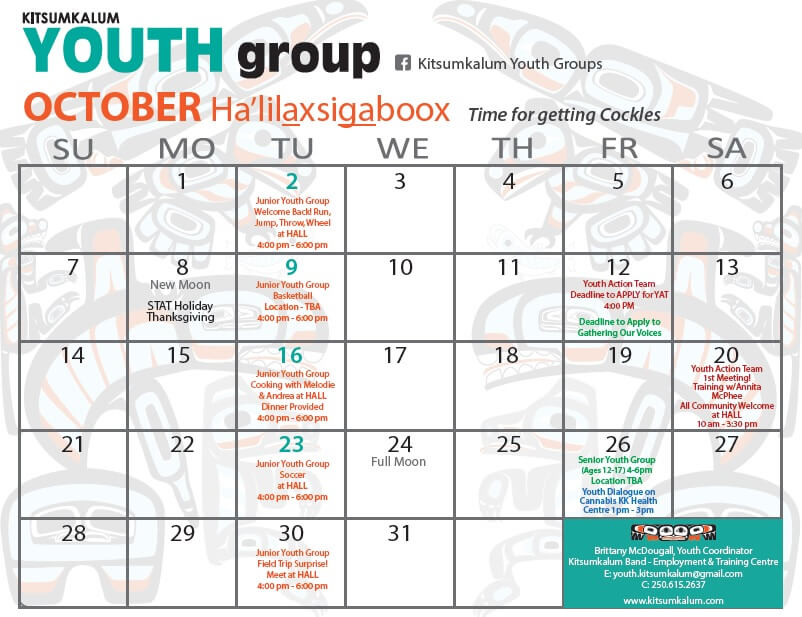 Youth Group Calendar of Events – October 2018