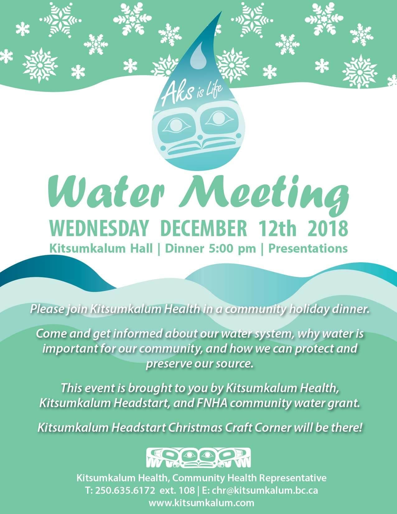 Kitsumkalum Water Meeting and Holiday Dinner DEC 12