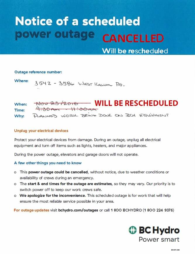 Cancelled – Planned Power Outage Nov 23