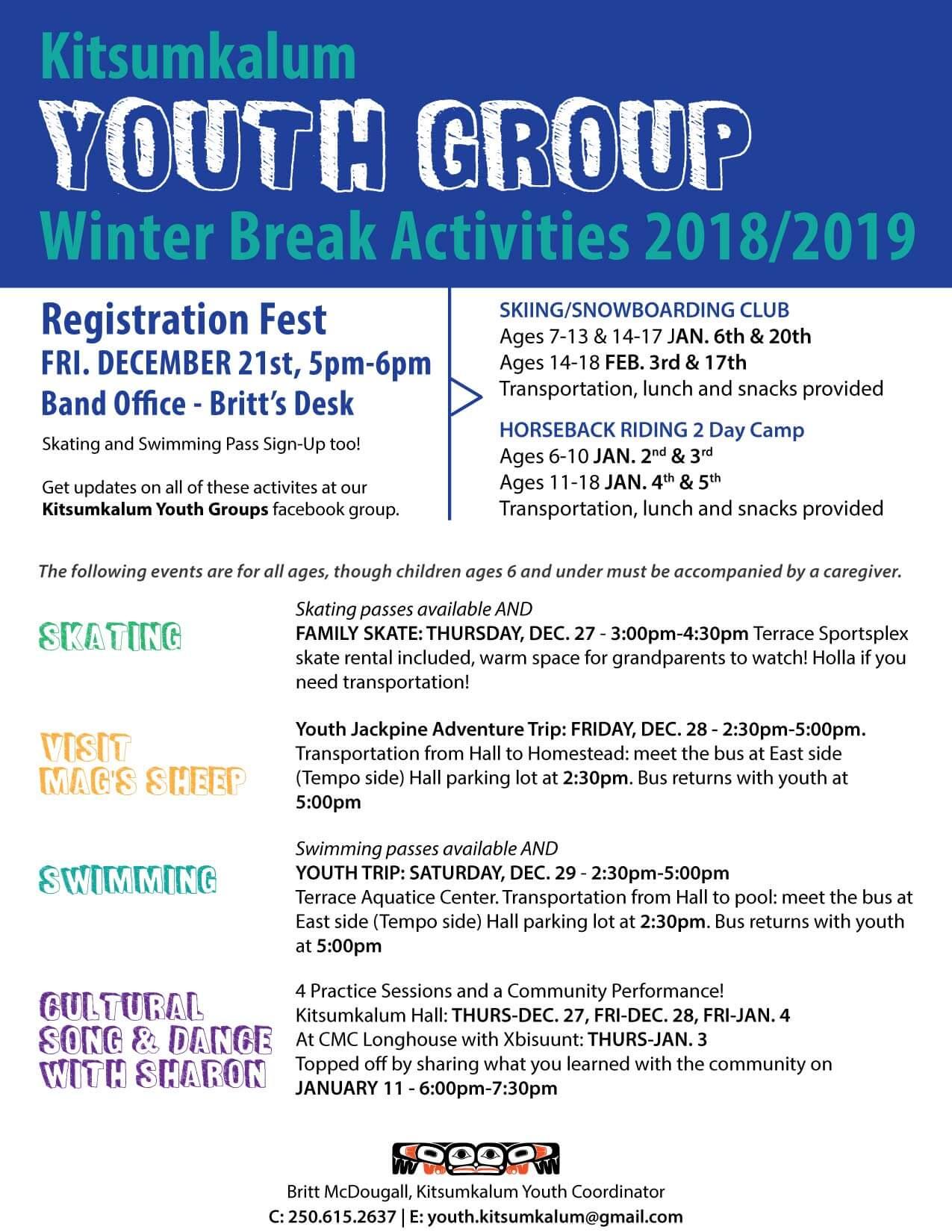 Winter Break Activities for Kitsumkalum Youth 2018/2019