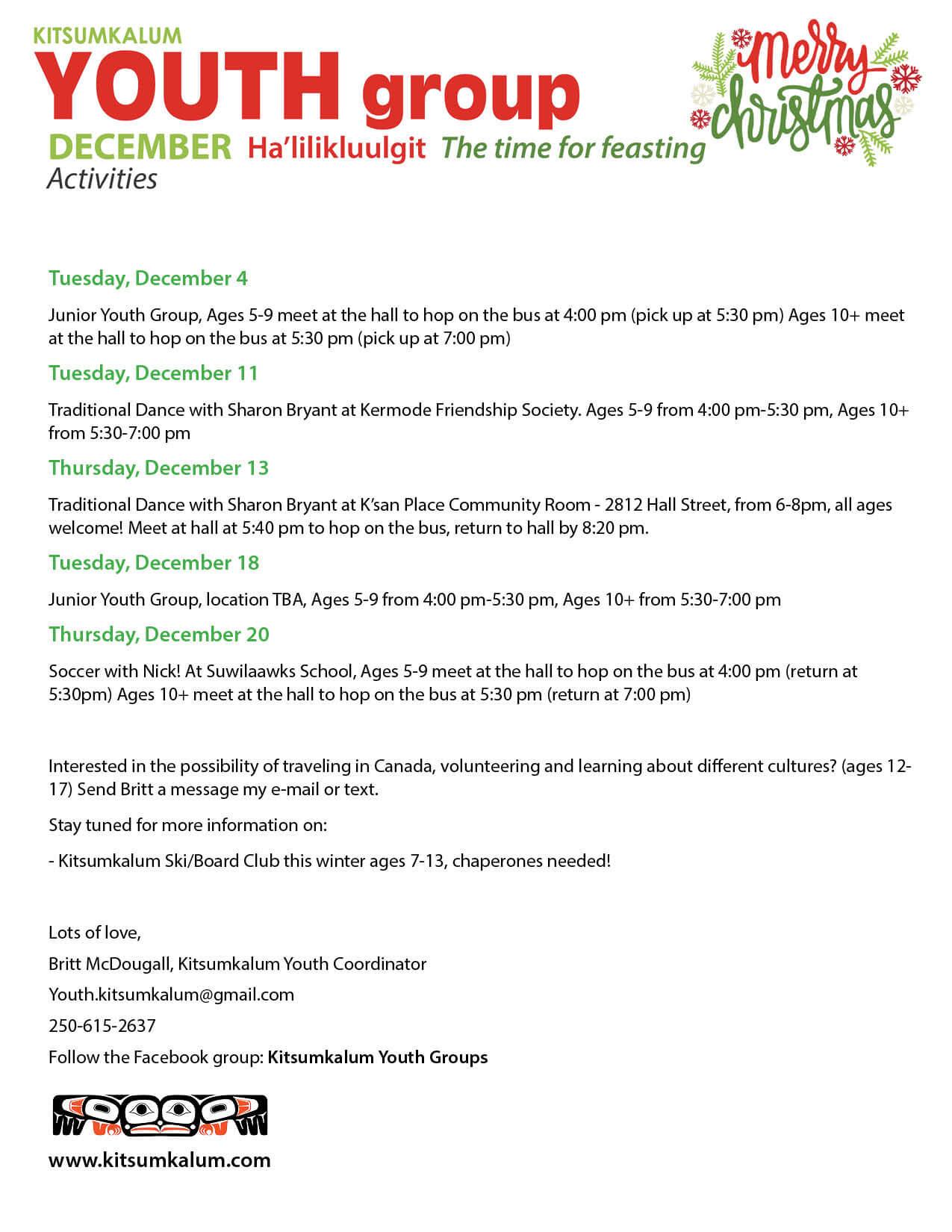 Kitsumkalum Youth Group December Activities