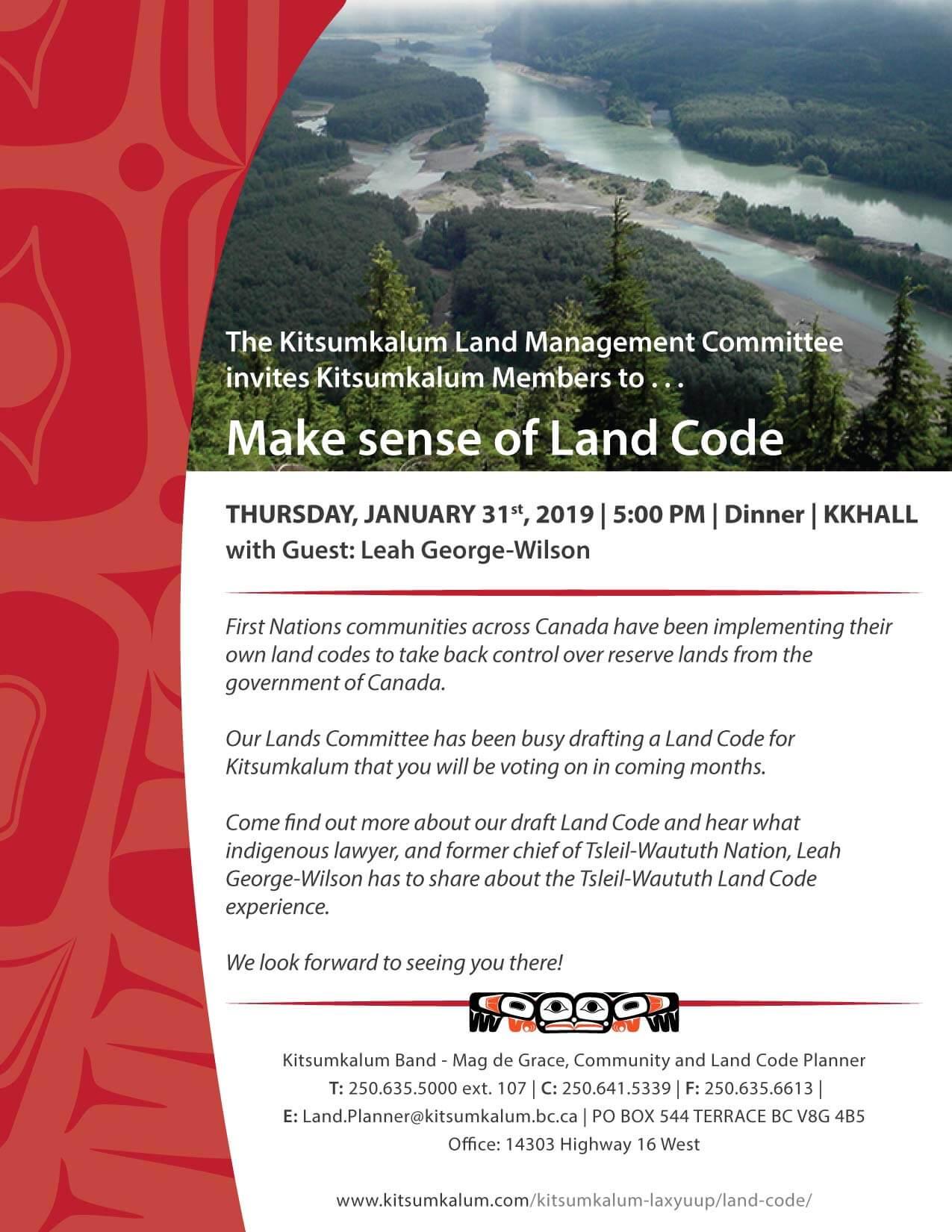 Make Sense of Land Code – Kitsumkalum Dinner and Meeting JAN 31