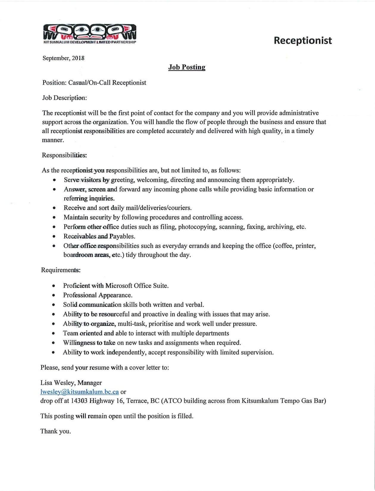 Receptionist Job Posting | Kitsumkalum, a Galts\'ap (community) of ...
