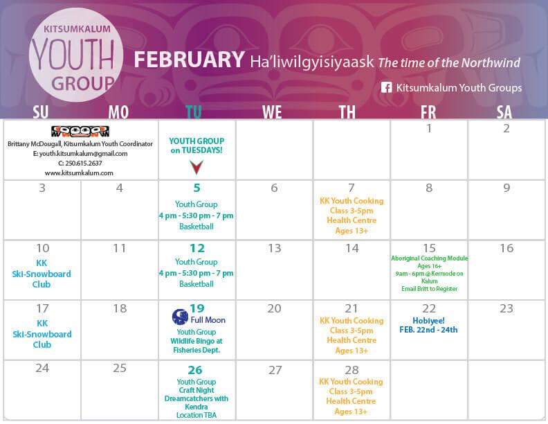 February Calendar Of Events 2019 February Calendar of Events Kitsumkalum Youth Group | Kitsumkalum