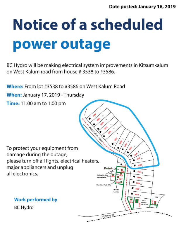 Notice Of Power Outage For January 17 Kitsumkalum A Galts Ap Community Of The Tsimshian Nation
