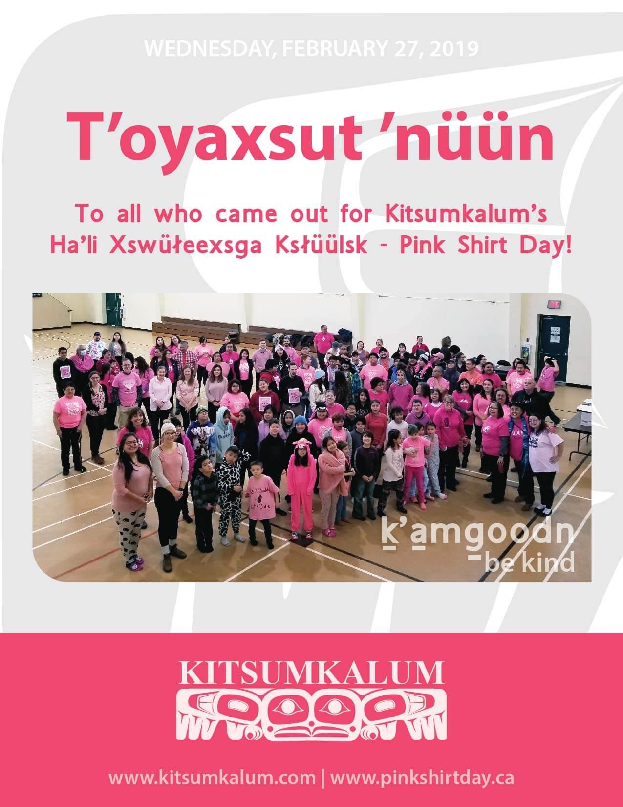 Kitsumkalum Ha'li Xswüłeexsga Ksłüülsk – Pink Shirt Day