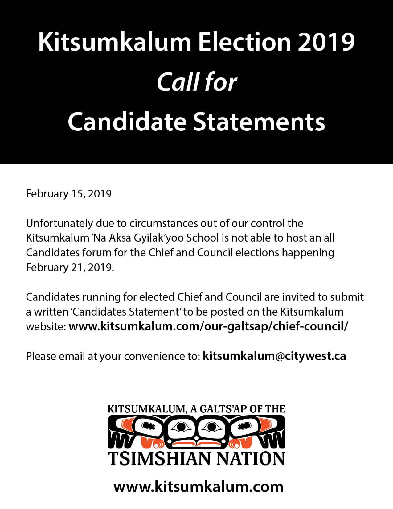 Kitsumkalum Election 2019 – Call for Candidate Statements